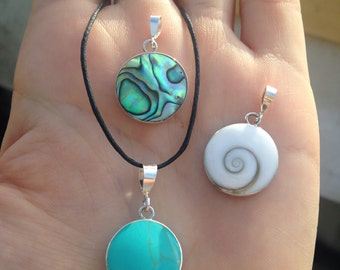 """Sterling Silver 925 Pendant Necklace ~ Reversible Pendant With Turquoise or Abalone Paua Shell- With 18"""" Silver Plated Chain or Black Choker"""