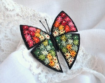 Embroidery art butterfly brooch Hand embroidery flower brooch Felt butterfly pin Textile embroidered jewelry for women Colorful butterfly