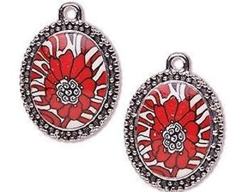 Red Pendant, Red Flower, Silver Beaded Frame, 42x37mm, 1 each, D995