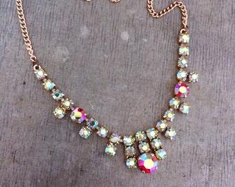 Vintage necklace, vintage diamante necklace, vintage wedding, aurora borealis necklace, AB necklace, pink, red, ivory, vintage rhineston