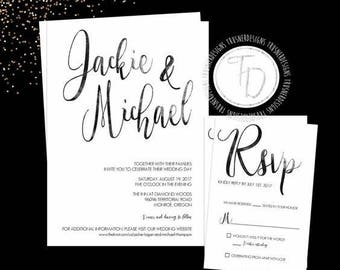 Black Watercolor Wedding Invitation, Watercolor Wedding Invitation, Modern Wedding Invitation, Black and White Wedding Invitation