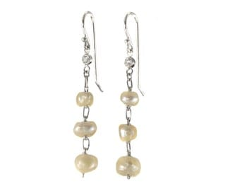 Upcycled antique natural pearls earrings | platinum | diamonds | Edwardian | dangling drop