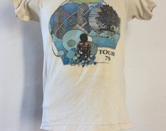 Vtg 1978 YES Going For The One Concert T-Shirt XS/S Beige 70s Classic Prog Rock Band