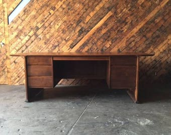 70's Vintage Monteverdi Young Walnut Refinished Executive Desk