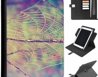 U-SPIB01-SPIDERWEB spider silk web pattern with raindrops Tab Samsung Universal Tablet Protective Pu Leather Flip Wallet 360 Swivel Case