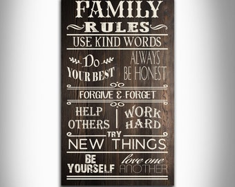 Family rules typography wordart home decor