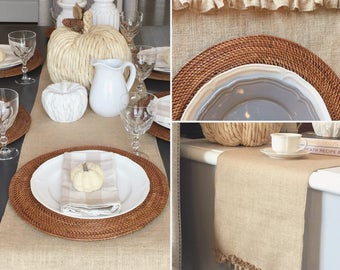 "Burlap ruffle edge table runner - 14"" wide"