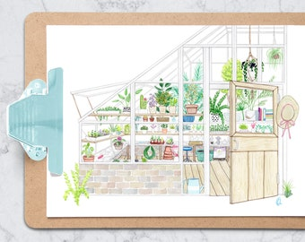 Greenhouse art print - 8.5x11 inches - watercolor illustration - plant lover - wall art
