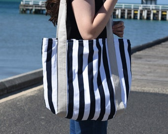 Large Navy and White Stripe Beach Bag Tote Bag