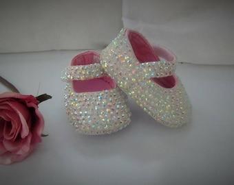 Romany Bling Bespoke White Ab Rhinestone Crystal Baby Shoes
