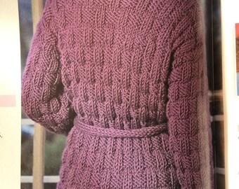 Ladies and Girls Easy Knit Long Cardigan Knitting Pattern