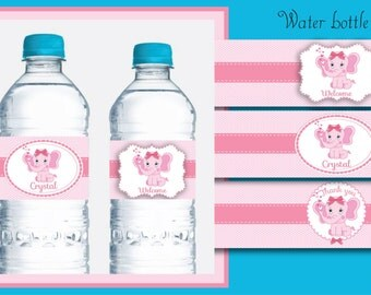 Water labels babyshower themed, printable water labels, elephant water labels kit