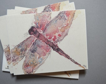 Watercolor Dragonfly Notecards - Set of 4 Dragonfly Notecards with Envelopes