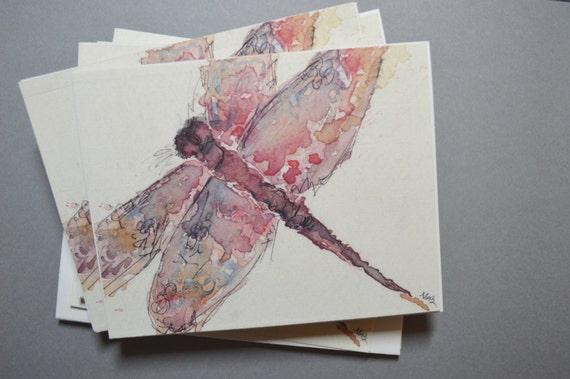 Watercolor Dragonfly Notecards - Set of 8 Dragonfly Notecards with Envelopes