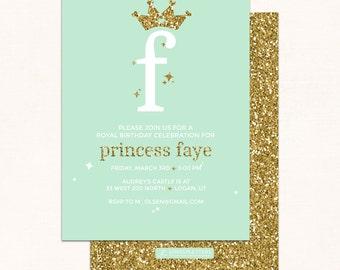 Princess Birthday Invitation / Princess Invitation / Princess Crown Invitation / Princess Tiara / Digital / Gold Crown / Princess Party