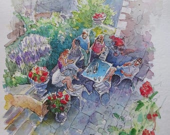 Watercolour painting - Holiday in France