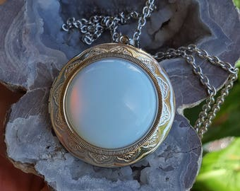 Stainless Steel Opalite Moonstone Locket| Cremation Jewelry | Urn Necklace | Urn Jewelry | Memorial Jewelry | Stainless Steel Urn Jewelry