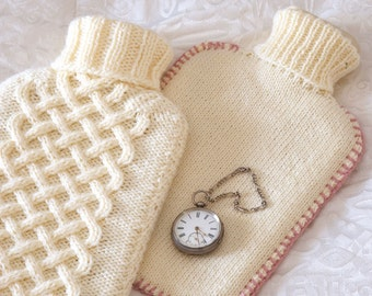 Instant PDF Digital Download Vintage Knitting Pattern PDF to make Both Aran & Stocking Stitch Hot Water Bottle Covers