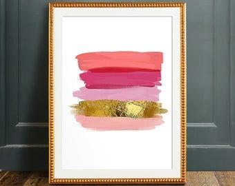 Pink and gold art, PRINTABLE art, Brushstroke art, Wall art, Abstract art, Glam art, Glam decor, Abstract print,Modern art print,Coral print