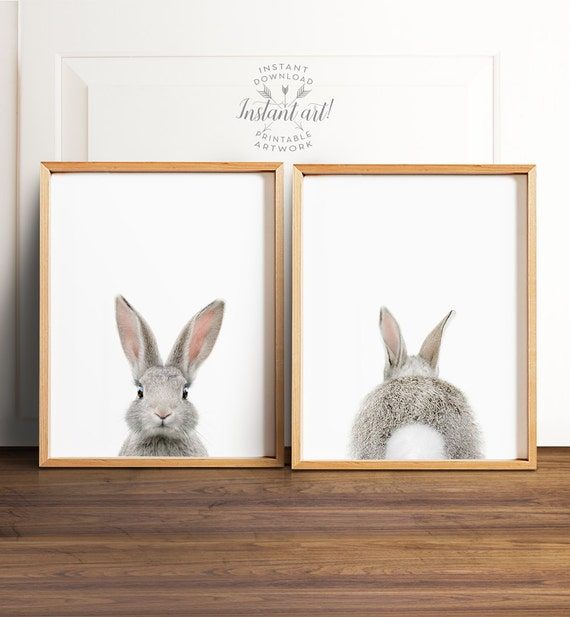 Bunny butt, Rabbit print, PRINTABLE art set, Nursery wall art, Woodland animals, Nursery art, Baby animal prints, Nursery animal art, Bunny