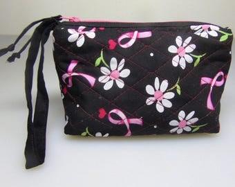 Handmade Quilted Wristlet or make-up bag