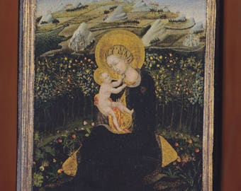 Virgin Mary,Giovanni di Paolo (Italian (Sienese),Madonna of Humility,Virgin and Child about 1442,Giovanni di Paolo.FREE SHIPPING
