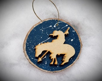 Horse and Rider Ornaments,Southwest Design Ornaments,Christmas Ornaments,Handmade Ornaments,Hand Painted Ornaments,Wood Disk Ornaments