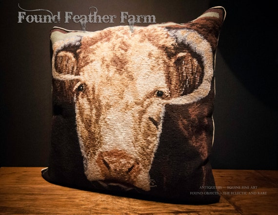 Handmade Wool Needlepoint Pillow of Bucky the Bull with Down Fill