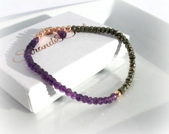 Amethyst & Pyrite Bracelet With Rose Gold Filled Magnetic Clasp - FEBRUARY BIRTHDAY