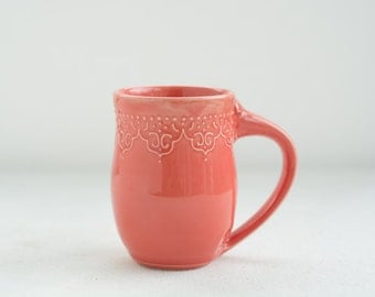 Handmade Lace Mug in Coral