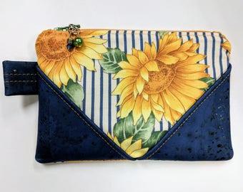Sunflower & Cork Zipper Pouch