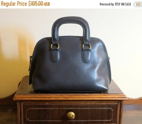 Football Days Sale Coach Baxter Bag Navy Leather Satchel Duffel -VGC- Made In U.S.A. - Strap Missing