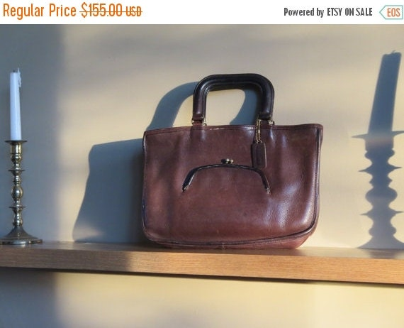 Football Days Sale Coach New York City Vintage  Mocha Brown Leather Watermelon Satchel Kisslock Bag Coach Style No. 9441 - Made In U.S.A.