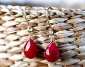 Ruby Earrings, Gift for Her, Red, Genuine Ruby Jewelry, July Birthstone, Natural Ruby Earrings: Gold Filled, Rose Gold, Sterling Silver
