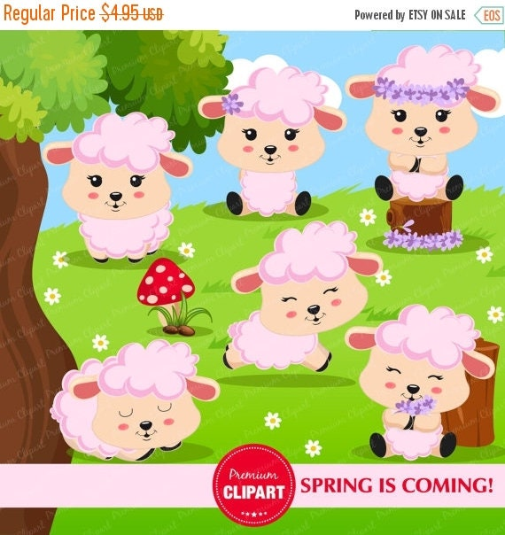 80% OFF SALE Spring clipart Lamb clipart Animal clipart