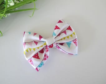 Hairbow - White with Pink, Turquoise and Green Penant Banners- You choose alligator clip or nylon headband - toddler bows - baby bows
