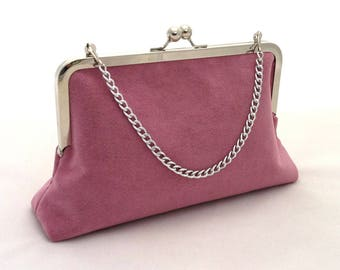 Dusty pink suede bag   Etsy