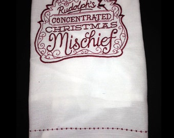 Embroidered Tea Towel - Rudolfs Christmas Mischief