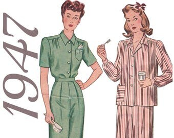 "Plus Size Vintage Plus Size Pajamas 1940s Sewing Pattern SIMPLICITY 1999 UNCUT bust 46"" Womens Pajamas Sleepwear Pattern 1940s Pajamas"
