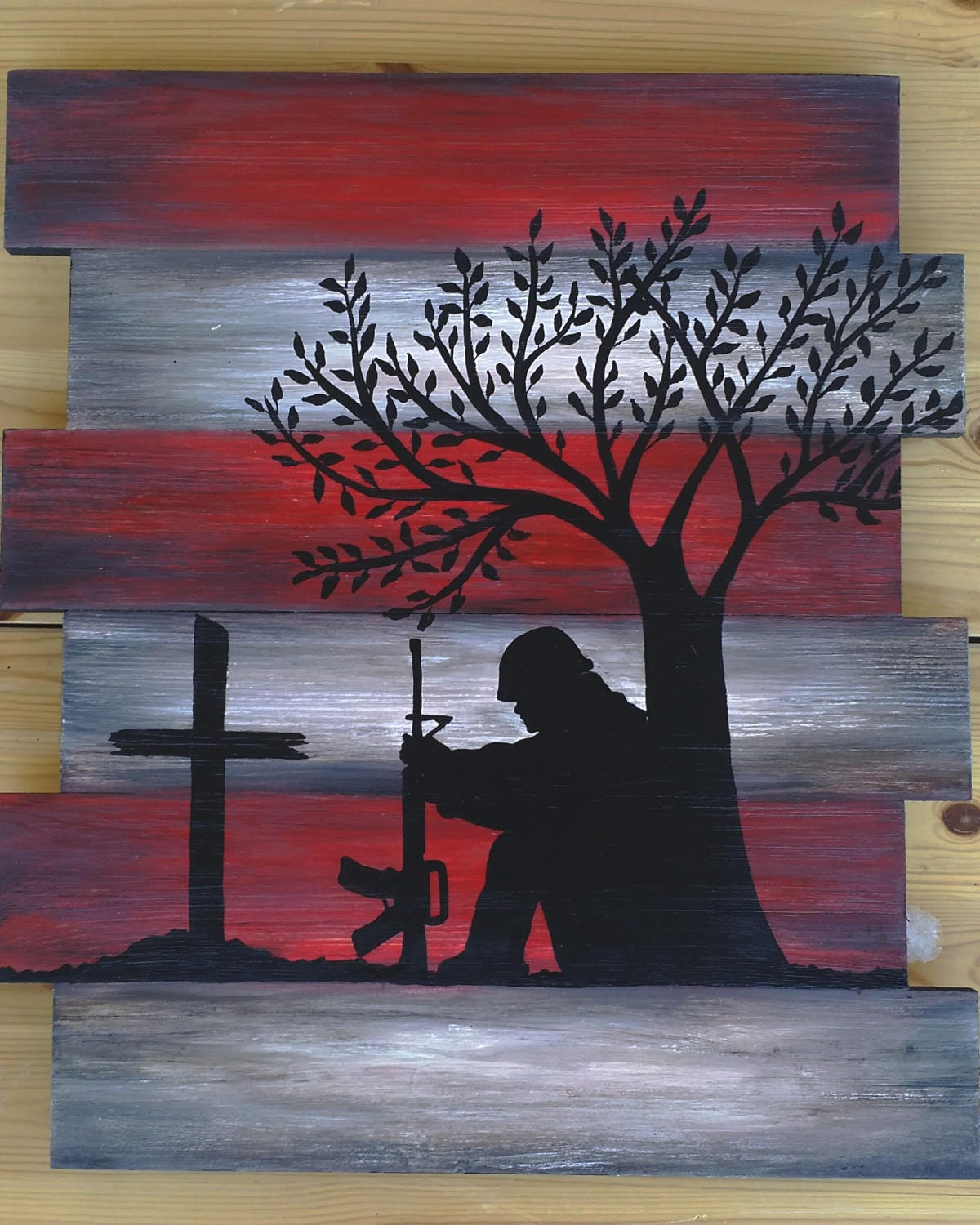 Flag wood art memorial wall decor soldier and cross for Painted american flag wall art