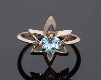 Solitaire ring, Star ring, Topaz ring, Blue stone ring, Gemstone ring, Blue topaz ring, Topaz ring gold, December birthstone, Triangle ring