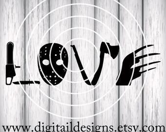 Horror Movie Love SVG - png - eps -dxf - fcm - ai - Cut file - Silhouette - Cricut - Horror Movie SVG - Love Horror - Horror Movie Cut File