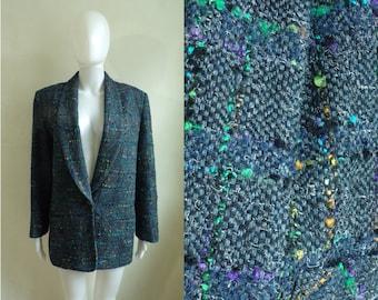40%OffJune23-26 70s tweed blazer size xl, colorful blue tweed wool blazer, 1970s womens blazer jacket, womens boucle jacket