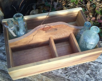 Handmade tool caddy/ Tool caddy/ Rustic wooden tool carrier/ Cottage Chic