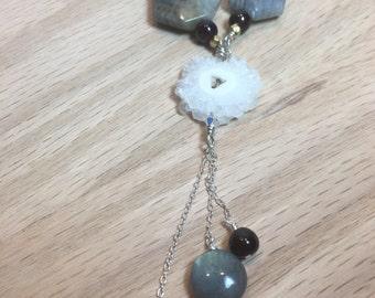 Labradorite and Stalagmite druzy necklace