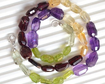 """Natural Multi-gemstone Beaded necklace,gemstone necklace, Faceted Beads Necklace garnet amethyst,peridot 9 to 13mm/ 17""""inch necklace"""