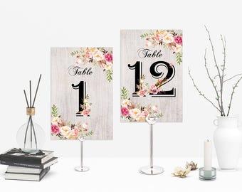 Wedding Table Numbers Printable Boho Wedding Table Numbers 1-12 Floral Wedding Table Numbers Rustic Wedding Table Numbers Boho Wedding Decor