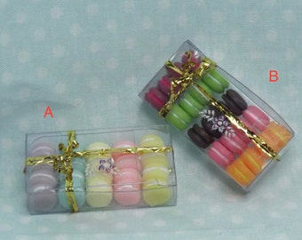 Miniature Boxed Macaroons. Miniature Cookies, Sweets,Food, Cookies. Dollhouse Kitchen, Dining Room Accessories. Barbie Food, Accessories