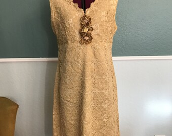 1960s Tan Lace Shift Dress Beaded Flower Detail M