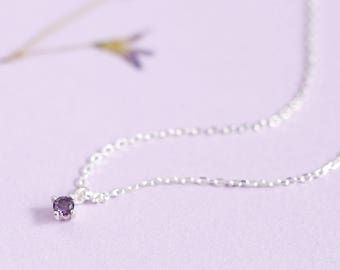 Tiny Amethyst Necklace 925 Sterling Silver January Birthstone
